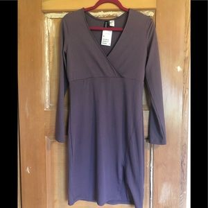 H&M Purple Bodycon long sleeve dress with slit